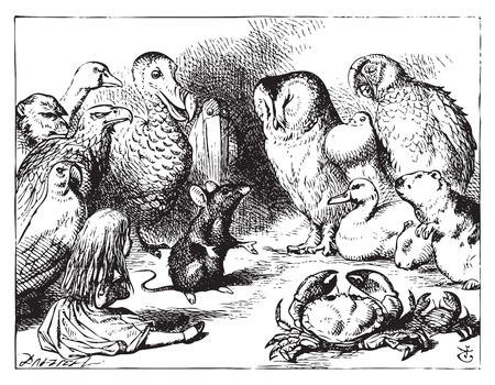 Alice in Wonderland. The mouse tells Alice a story. The mouse is telling a story to the crowd of animals.Alice's Adventures in Wonderland. Illustration from John Tenniel, published in 1865. Stock Vector - 13708300