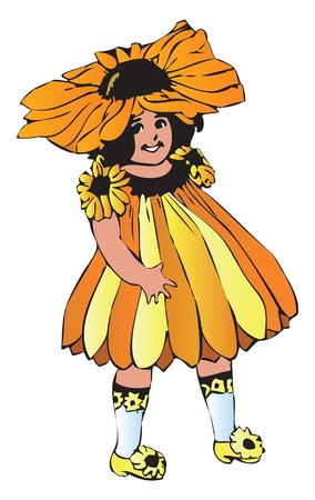 Rudbeckia hirta, the Black-eyed Susan flower child. Painted off The Flower Children: The Little Cousins of the Field and Garden book, from Elizabeth Gordon. M. T. Ross is the artist. Çizim