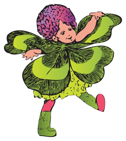Clover or Trifolium child-flower. Painted off The Flower Children: The Little Cousins of the Field and Garden book, from Elizabeth Gordon. M. T. Ross is the artist.