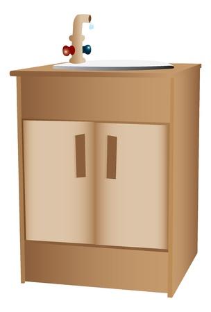 spigot: Wooden cabinet and sink