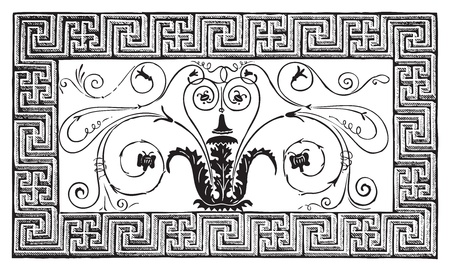 Detail of an ancient Roman mosaic made of a foliated design with volutes, and a border with geometrical patterns. Magazine Le Magasin Pittoresque, Paris, 1840 Vector