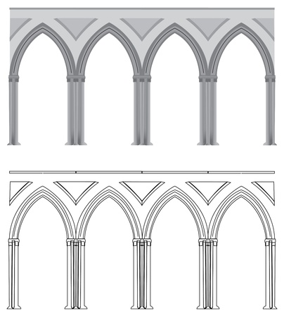 A vectorized Gothic style column, in vectorized lines or colored