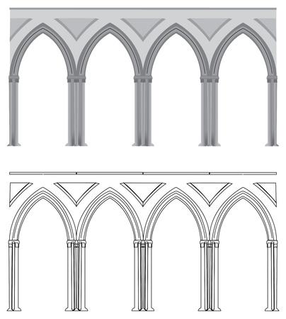 vectorized: Una columna vectorizado estilo g�tico, en l�neas vectorizadas o coloreadas