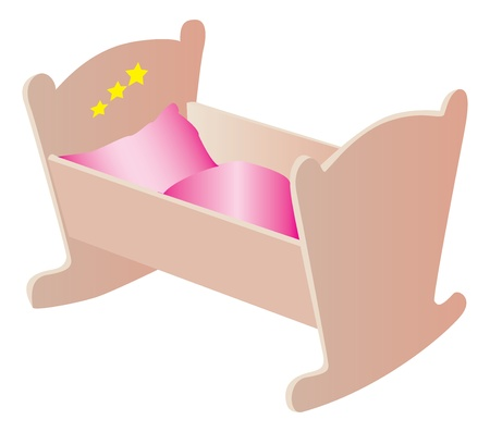dr: Wooden cradle illustration