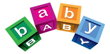 Wooden baby blocks Illusztráció