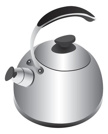 Retro silver kettle Illusztráció