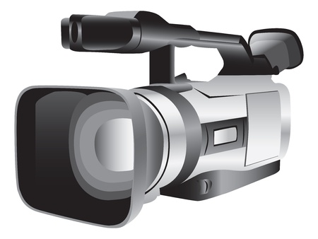 3D illustration of a semi-professional video camera