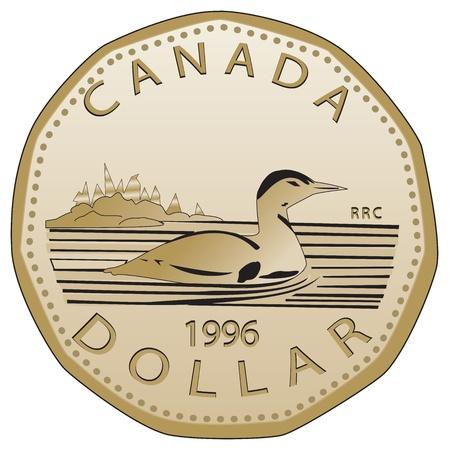 Dollar canadien entièrement vectorisé Très détaillé, vue de face réaliste d'un dollar canadien Vecteurs