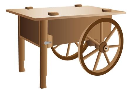 carreta madera: Ilustración de carretilla de madera Vectores