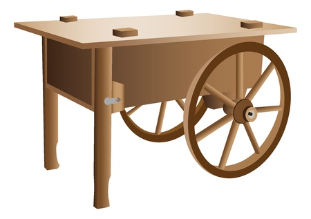 handcart: Wooden handcart illustration