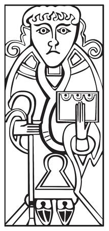 聖書と白い背景に対して隔離される杖を保持聖ルカの古いケルトのシンボル
