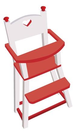 high chair: Vectorizado alta silla de madera, silla para ni�os seguros Vectores