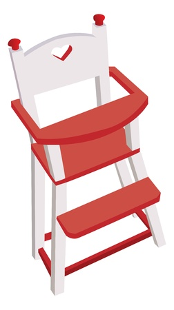 Vectorized wooden high chair, children safe chair