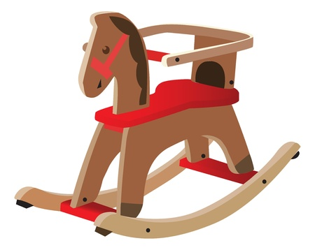 Red painted wooden horse Vector