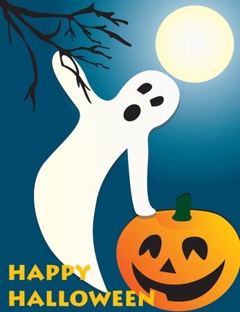Halloween flying ghost and pumpkin scene