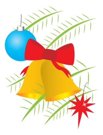 Christmas bells and balls on branches Illustration