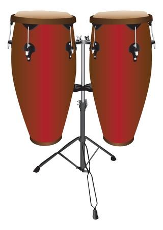 bongos: Pair of Conga Drums Illustration