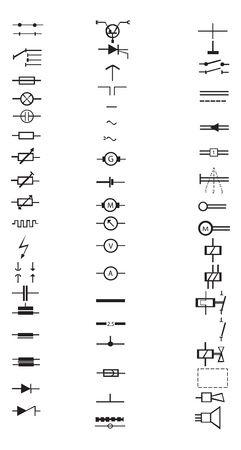 electronic components: An extensive list of numerous electrical signs and symbols, all in vector. This list of electronic components. Illustration