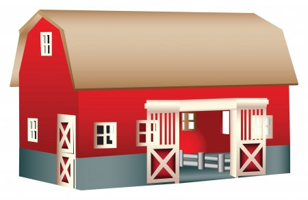 old red barn: Red wooden toy barn illustration, isolated against a white background Illustration