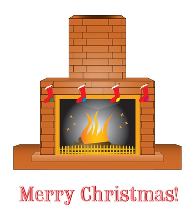 Brick fireplace Illustration