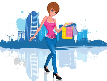 Vector illustration of a young and attractive brunette woman with short hair, wearing an attractive pink shirt and black high heels shoes. She has three shopping bags in her hands. She walks in front of a cityscape illustration silhouette, with blue paint Illustration