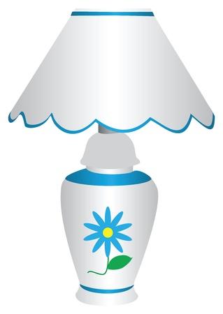 Blauwe en witte elektrische lamp met lampenkap, met een geschilderde blauwe margriet op voorzijde, geïsoleerd tegen een witte achtergrond.