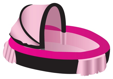 Pink and black illustration of a baby crib, isolated against a white background