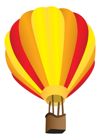 Stripy hot air balloon
