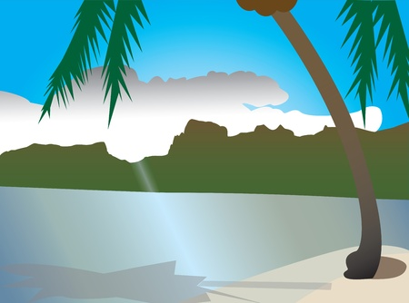pal: Beautiful nature, summer vacation Illustration