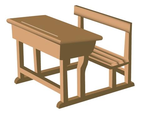 Illustratie van een bruine school als houten bureau met aangehechte stoel. Stock Illustratie