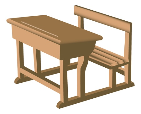 pew: Illustration of a brown school like wooden desk with attached chair.