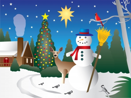 christmas house: Snowman in Christmas scene Illustration