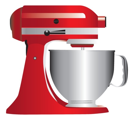 stainless steel kitchen: Red stand mixer