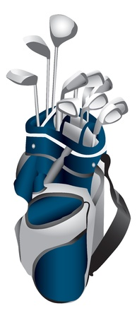 golf clubs: Golf Clubs in Bag Illustration