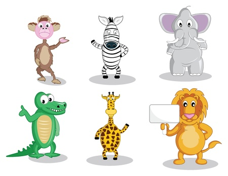 A monkey and a zebra waving their hand, a fat elephant, smiling intelligent gator, waving giraffe and a lion holding a sign, all in vector illustration cartoon. Vector