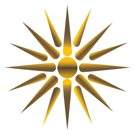 sun: Golden sun, fully vectorized Illustration