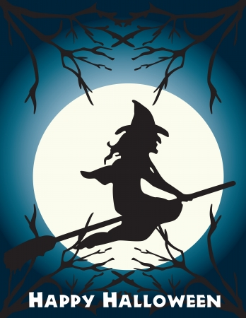 Halloween flying witch on a broom scene Иллюстрация