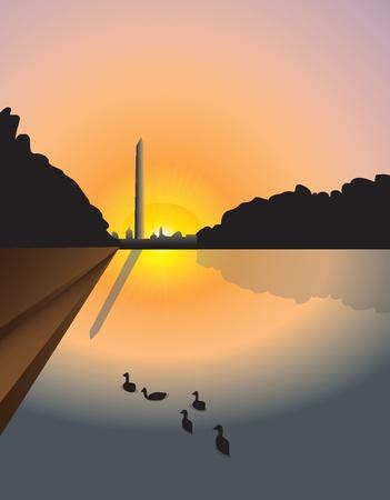 washington monument: Washington monument sunset