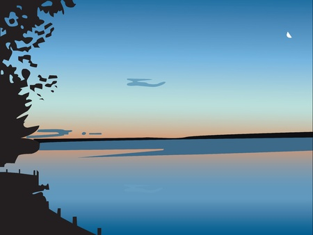mirro: Sunset over a lake, in vector