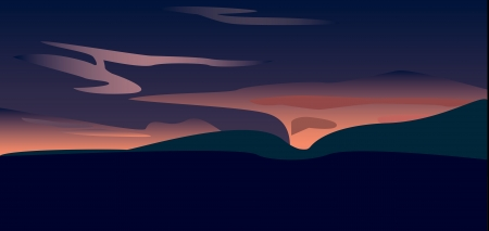 A sunset over valley, vector art Фото со стока - 13650861