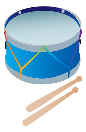 A toy drum with drumsticks Çizim
