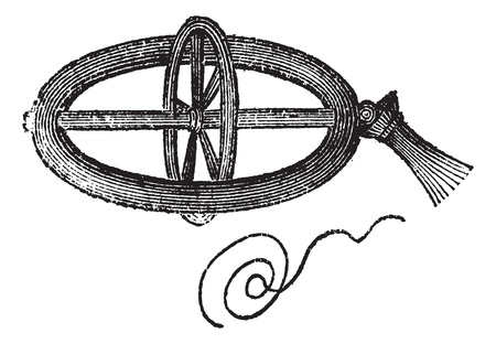 momentum: Armillary Top, spun by pulling a string, vintage engraved illustration. Trousset encyclopedia (1886 - 1891).