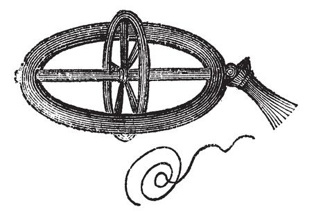 spun: Armillary Top, spun by pulling a string, vintage engraved illustration. Trousset encyclopedia (1886 - 1891).