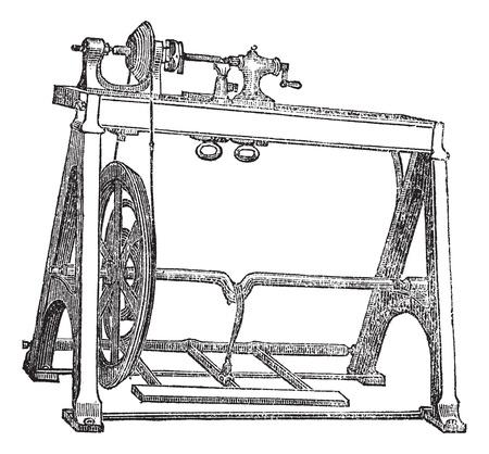 Spindle Lathe Woodturning Machine, vintage engraved illustration. Trousset encyclopedia (1886 - 1891).