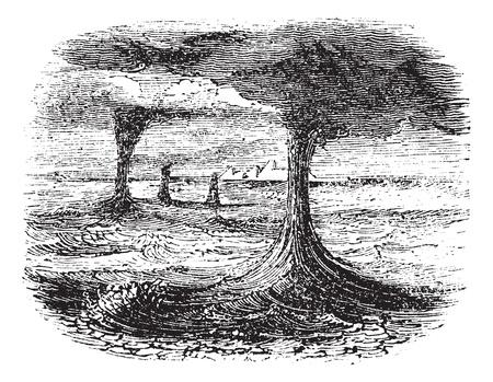 Waterspout, vintage engraved illustration. Trousset encyclopedia (1886 - 1891).