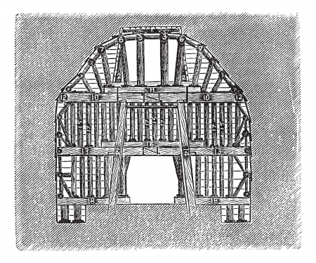 Wooden Tunnel Design, vintage engraved illustration. Trousset encyclopedia (1886 - 1891). Ilustração