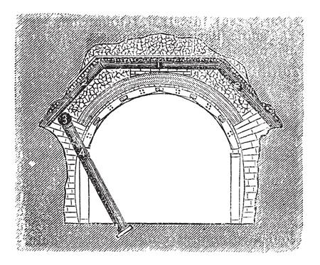 underpass: Concrete Tunnel, vintage engraved illustration. Trousset encyclopedia (1886 - 1891). Illustration