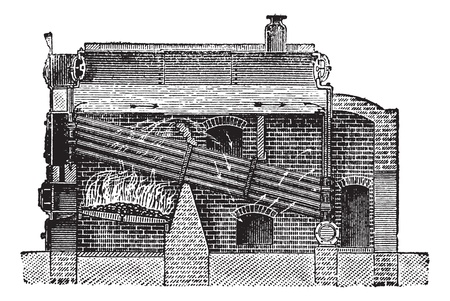 boiler: Babcock & Wilcox Boiler, vintage engraved illustration. Trousset encyclopedia (1886 - 1891).
