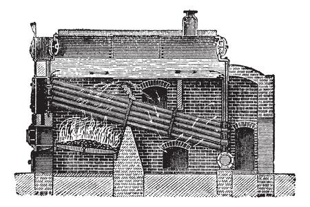 Babcock & Wilcox Boiler, vintage engraved illustration. Trousset encyclopedia (1886 - 1891).
