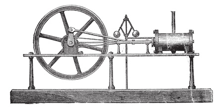 발전기: 단순 확장 증기 기관, 빈티지 새겨진 그림. Trousset 백과 사전 (1886-1891). 일러스트